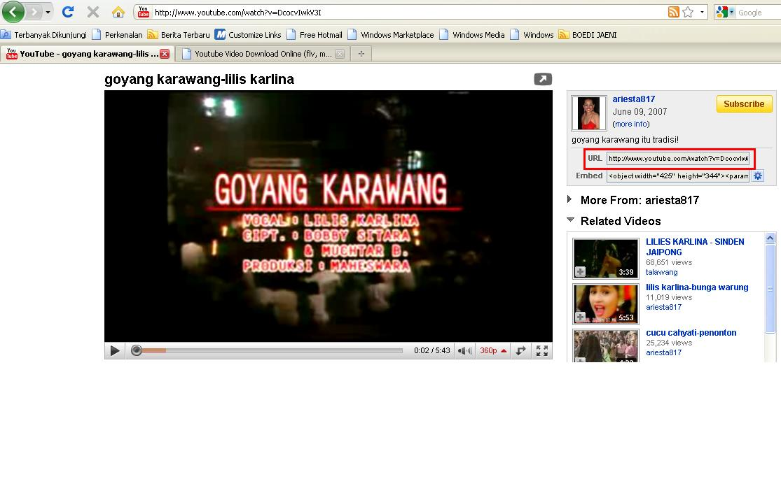 Contoh Cara download youtube tanpa software Gambar : File video goyang ...